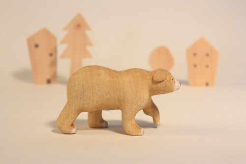 疗愈系木雕小动物_熊熊bear (原木手工雕刻)