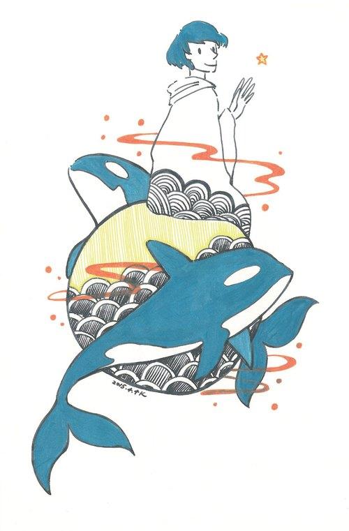 杀人鲸 手绘明信片