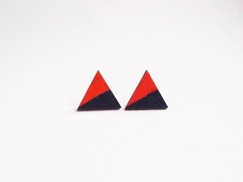 手绘彩色块木制耳环三角耳环