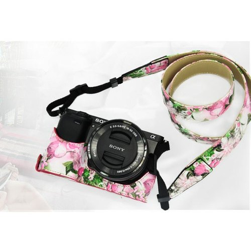 手工客製 相機皮套+背帶 適用於索尼微單相機 sony a6000