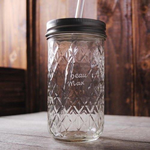 360cc【MSA檸檬水專用】復古菱格紋復刻玻璃罐飲料瓶玻璃雕訂做(含強化玻璃環保吸管)不含飲料 客製化