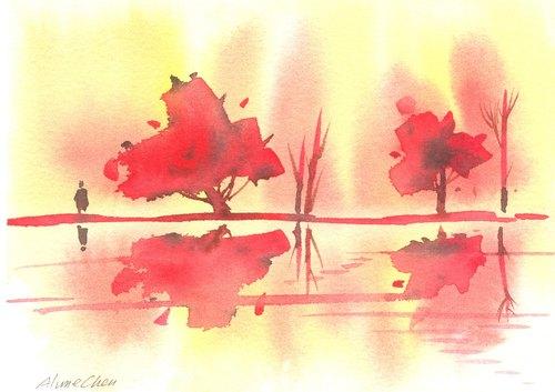 圣诞卡片「疗愈系树林系列1-49」水彩手绘限量版