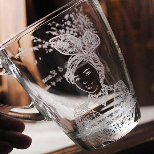 (一對價) 320cc【MSA肖像結婚杯】(寫實版) 花園婚禮.大樹與兔兔 婚紗人像馬克杯 結婚禮物 訂婚對杯 客製化