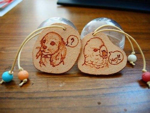 客制化/手绘烙烧皮革动物吊牌