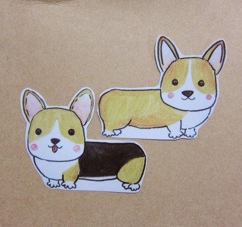 手绘插画风格 完全 防水贴纸 黄色柯基犬
