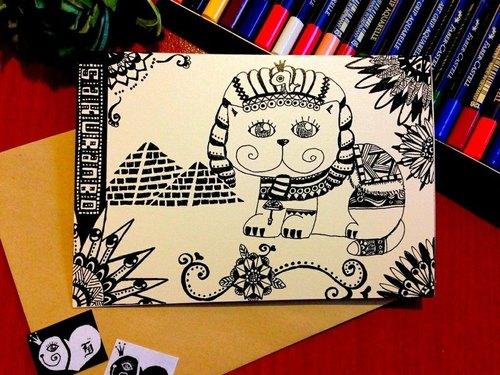 手绘明信卡片--埃及猫(横式)狮身猫