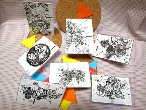 黑白手绘风明信片/万用卡