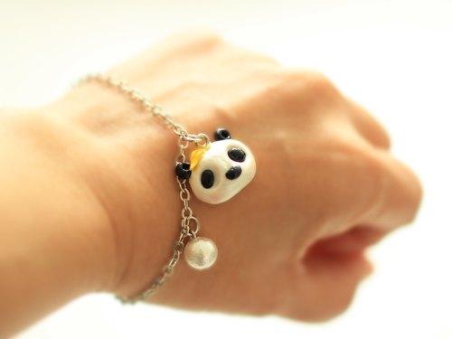 小熊猫手链 - 动物手绳,手工手绘低温陶泥坠子