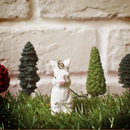 森林动物园 / – 木刻 白兔 吊饰