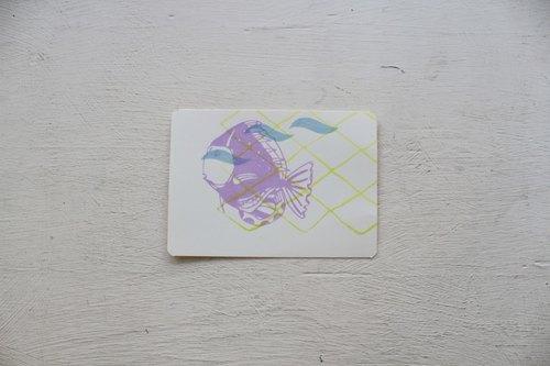 【ZhiZhiRen】厵 | 絹印明信片 - 旗津補魚 - 神仙魚