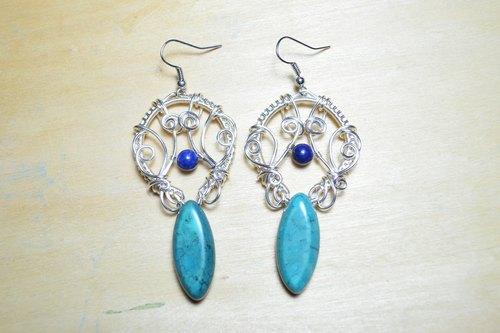 新疆绿松石设计耳环