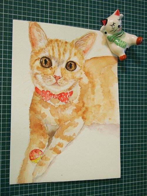 水彩单个动物肖像画