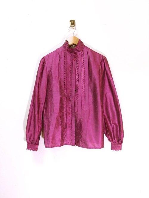 紫紅光澤感 打褶層次 花邊立領襯衫 日本古著