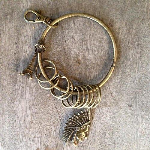 鑰匙圈/仿舊復古守門人大鑰匙圈-印地安酋長