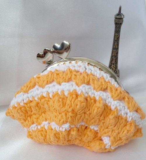 maymade╮钩织零钱包 口金包(橙黄色) 手工制作 handmade
