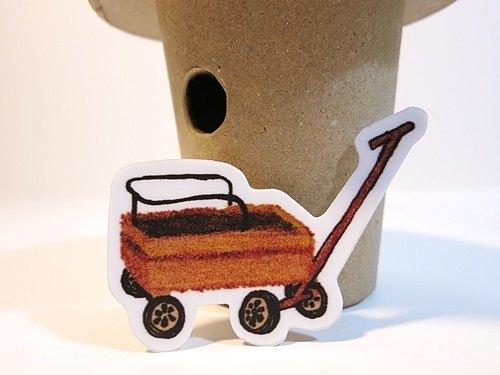 厚质防水贴纸-木头推车