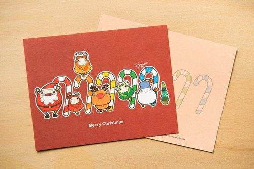 聖誕精靈-拐杖糖●明信片聖誕卡