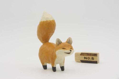 疗愈系木雕小动物_小狐狸b_橘色_fox (原木手工雕刻)