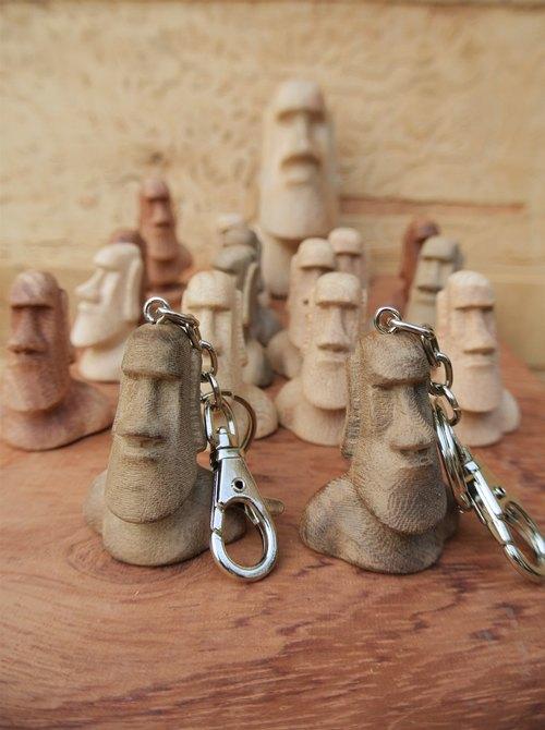 [木城工坊] 木作迷你摩艾 巨石 復活島 Moai  鑰匙圈 飾品  -檜木款