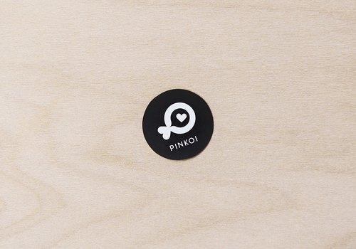 黑色 Pinkoi 小魚小型圓貼紙