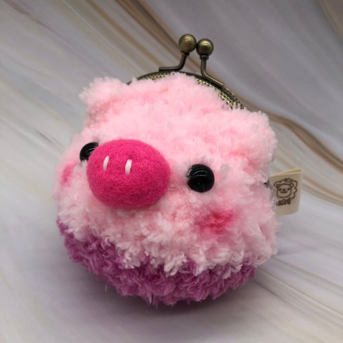 毛线编织动物零钱包 口金包-粉粉小猪