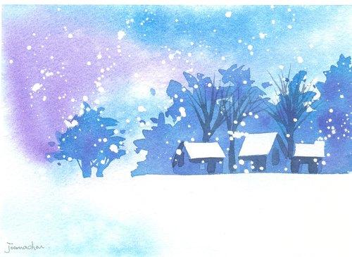 """圣诞卡片""""疗愈系树林系列1-95""""水彩手绘限量版明信片/贺卡"""