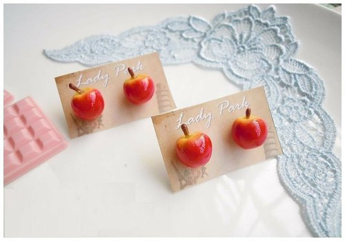 【Lady Park】.{Apple Apple snow white系列}紅蘋果耳環(針式n夾式)
