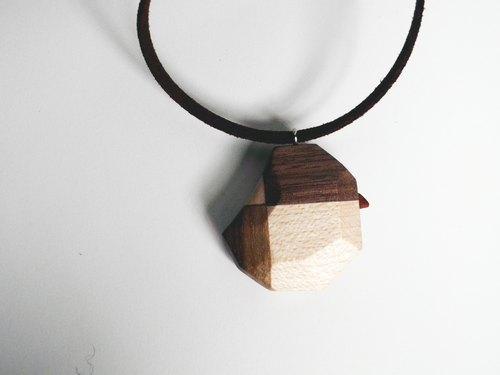 木制小鸟项链 / 不规则切面造型