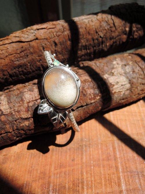 酒精藍寶 (玉髓) Chalcedony / 澳洲玉 Chrysoprase / 925Silver 純銀 半寶石 手環