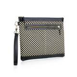 Graphic Textile mix Leather Clutch Bag│Chessboard II