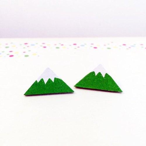 手绘木头耳针-小山(蓝,绿双色)