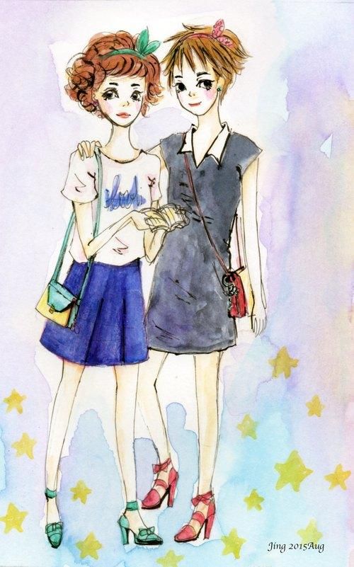个性手绘插画浪漫时尚风格双人 custom portraits 数位图档