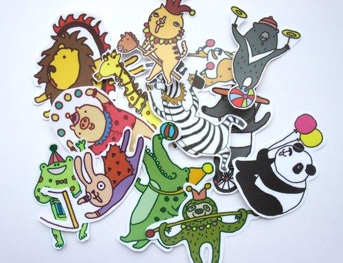 马戏团动物贴纸(套装13张)