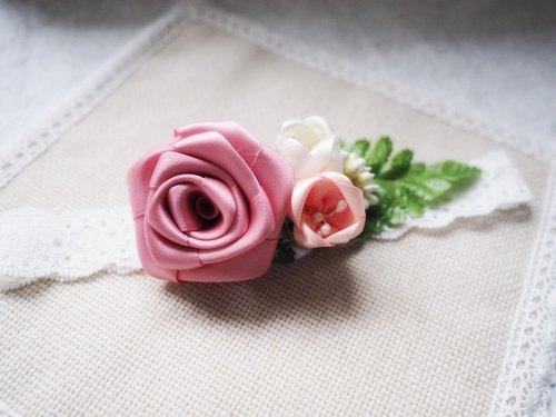 手作婴儿女童粉红丝带玫瑰花发带
