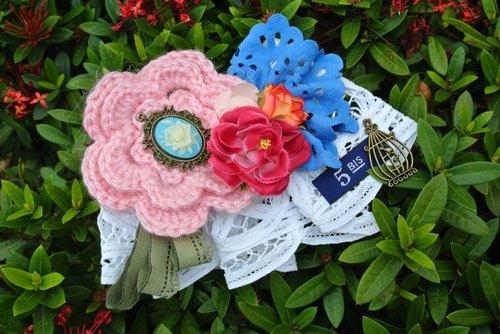 钩针编织发夹花朵图解