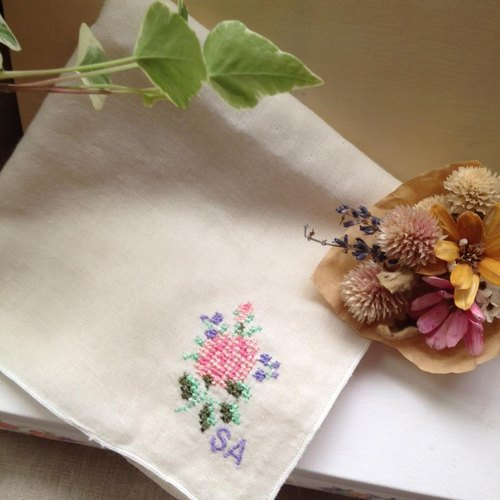 刺绣手帕巾 玫瑰花rose