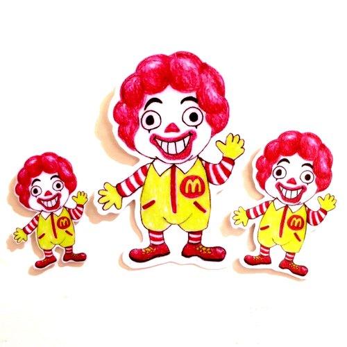 色铅笔手绘傻呼呼公仔娃娃防水贴纸--傻呼呼麦当劳3入