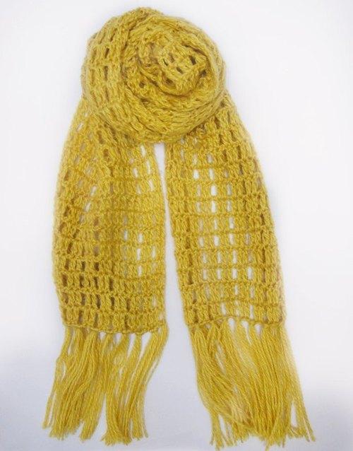 金冬暖感手工编织围巾
