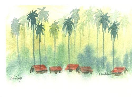 「疗愈系树林系列1-51」水彩手绘限量版明信片/圣诞卡