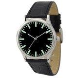 簡約手錶(黑面綠色粗條紋)