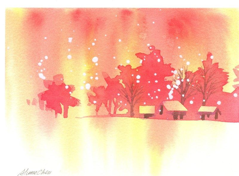 新年贺卡「疗愈系树林系列1-86」水彩手绘限量版明信片/贺卡