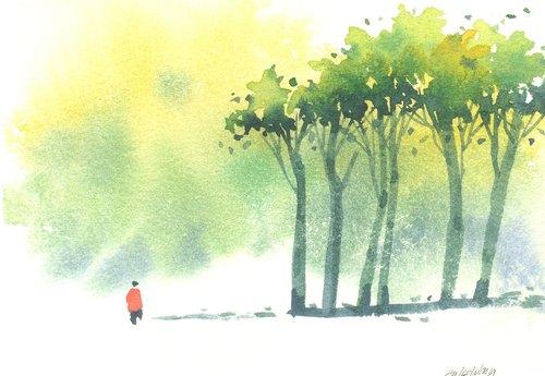 """""""疗愈系树林系列1-45""""水彩手绘限量版明信片/圣诞卡"""