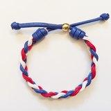 「紅藍白三色麻花仿皮繩」