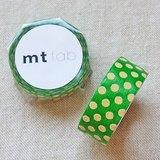 mt 和紙膠帶 fab 植絨系列【水玉款 綠+奶油黃(MTFL1P05)】