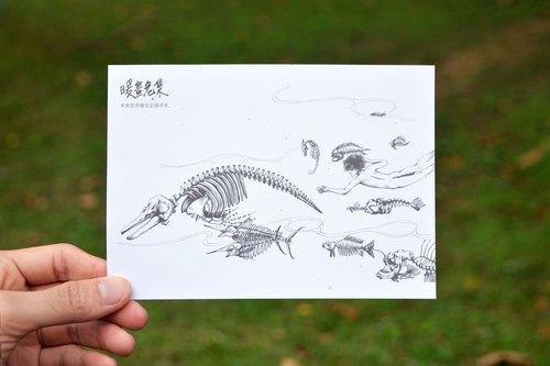 【暖画危集 灰港-海洋明信片】 单张 / 创意设计 特殊尺寸 黑白 手绘