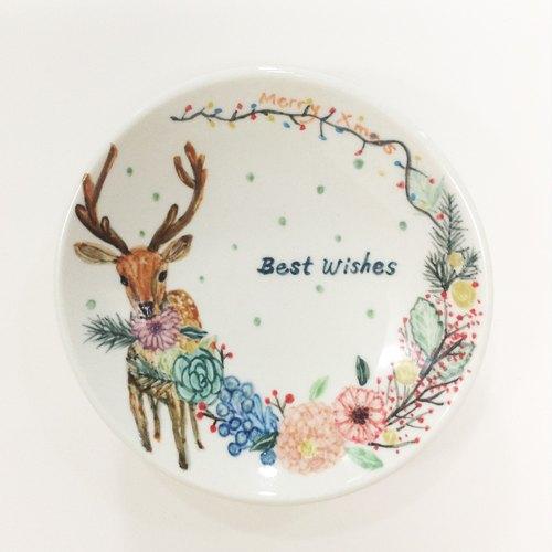 小鹿咬花圈-手绘圣诞小碟