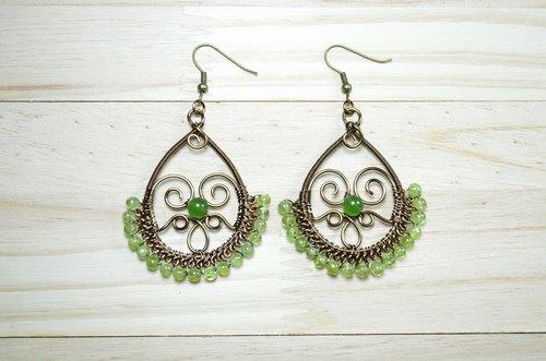 橄榄石设计耳环-手工/金属线/天然石/铜线