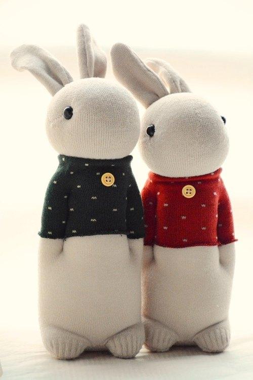 自然风手作袜子娃娃~暖心条纹兔(灰蓝+粉红)及点点t