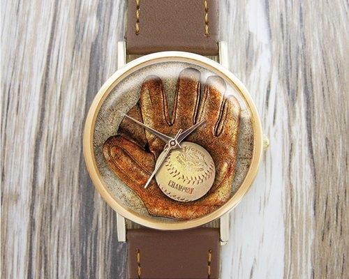 棒球手套 - 時尚手錶︱真皮錶帶︱男女流行穿搭配件︱最佳節日禮物