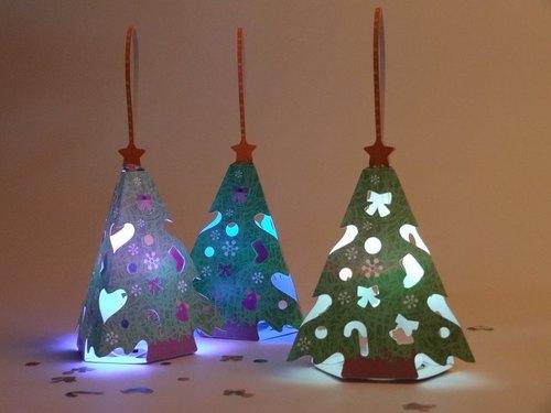 【扶风文化】diy立体纸雕-圣诞节小树灯(三入一组)
